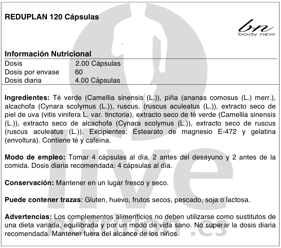 REDUPLAN 120 CÁPSULAS BODY NEW